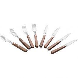 Lamart Steakové příbory sada 8 ks Walnut s dřevěnou rukojetí LT2026