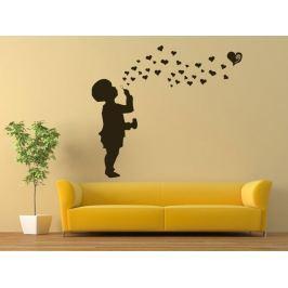 Samolepka na zeď Dítě s bublifukem 001
