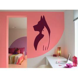 Samolepka na zeď Kočka a pes 001