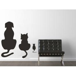 Samolepka na zeď Kočka a pes 002