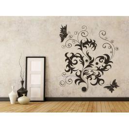Samolepka na zeď Květiny s motýly 012