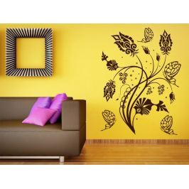 Samolepka na zeď Květiny s motýly 015