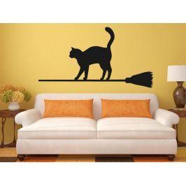 Samolepka na zeď Kočka na koštěti 0501