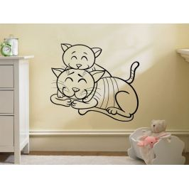 Samolepka na zeď Dvě kočičky 0532