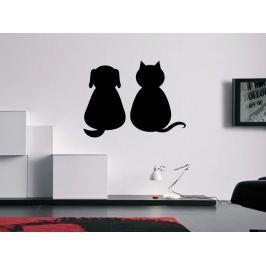 Samolepka na zeď Kočka a pes 0551