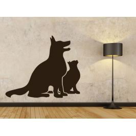 Samolepka na zeď Kočka a pes 0560