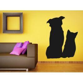 Samolepka na zeď Kočka a pes 0571