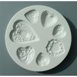 Silikonová forma na marcipán - srdce s reliéfem