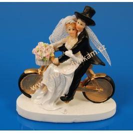 Figurka na dort - nevěsta a ženich na kole
