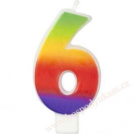 Dortová svíčka číslice duhová 6
