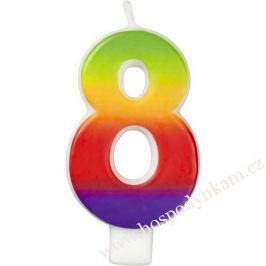 Dortová svíčka číslice duhová 8