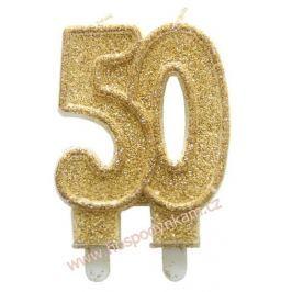 Dortová svíčka číslice 50, zlatá