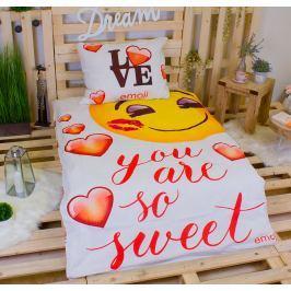 TOP Bavlněné povlečení 140x200+70x90 Emoji sweet love