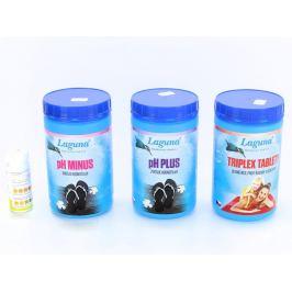 II.Základní set na chlorové ošetření vody (Triplex tablety, pH-, pH+, tester)