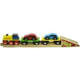 Dřevěné vláčkodráhy - Nákladní vlak s auty a kolejemi