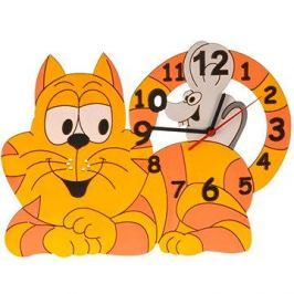 Dětské dřevěné hodiny - Kočka s myškou