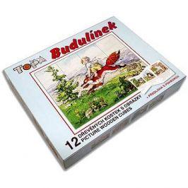 Topa dřevěné kostky kubus - Budulínek 12 ks