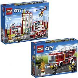 LEGO City 60110 Hasiči, Hasičská stanice + LEGO City 60107 Hasiči, Hasičské auto s žebříkem