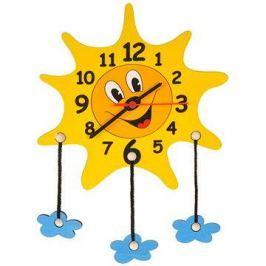 Dětské dřevěné hodiny - Sluníčko s mráčky