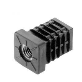 Záslepka obdélníková se závitem delší černá - 25x25x1-2mm M10