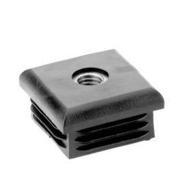 Záslepka obdélníková se závitem krátká černá - 25x25x1-2mm M8 kovový závit