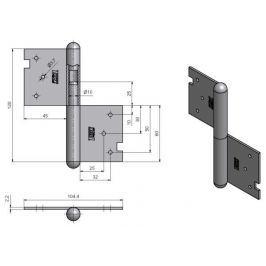 Závěs dveřní 120  - pravý bez povrchové úpravy