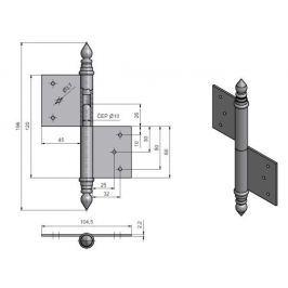 Závěs dveřní UR14 120   - levý pomosazený
