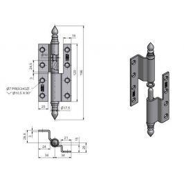 Závěs dveřní lomený UR 120 pomosazený - levý