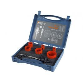 Sada vrtáků univerzálních korunkových 9ks 19-57mm kufr Extol Premium 8801602