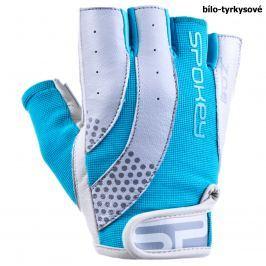 Fitness rukavice SPOKEY Zoe II bílo-tyrkysové - vel. M