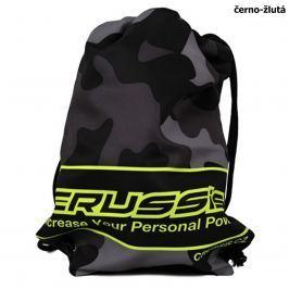 Crussis sportovní taška černý maskáč žluté fluo logo
