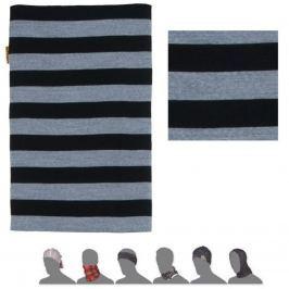 Šátek SENSOR Tube Merino wool černý - pruhy