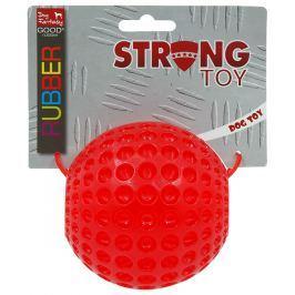 Hračka Dog Fantasy STRONG míček guma s důlky červená 9.5cm