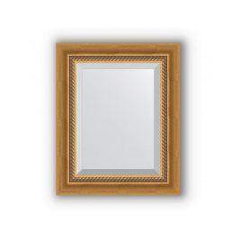 Zrcadlo s fazetou, patinované zlato s krouceným detailem