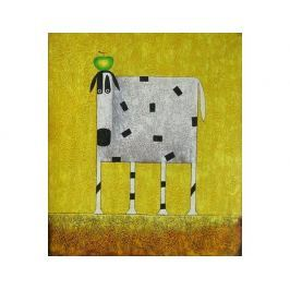 Obraz - Bílá kráva s jablkem