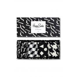 Happy Socks - Ponožky Black & White (4-pack)