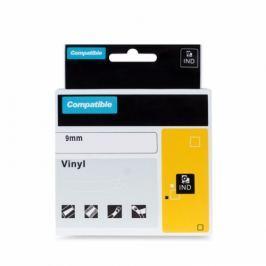 Kompatibilní  páska s DYMO, 1805437, 9mm, 5.5m, bílý tisk / černý podklad, RHINO vinylová