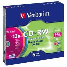 Verbatim CD-RW [ slim jewel case 5 | 700MB | 12x | Colour ]