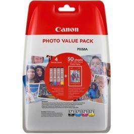 Canon CLI-571XL C/M/Y/BK + fotopapír Canon PP-201 - originál