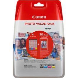 Canon CLI-571 C/M/Y/BK + fotopapír Canon PP-201 - originál